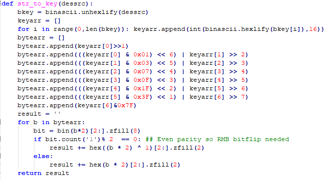Sample code to convert 7 bytes to 8 bytes (to be used as DES keys)